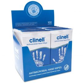 Clinell Antimicrobial Hand Wipes - 100 Sachets Per Pack
