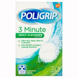 Poligrip Denture 3 Min Ultra Cleansing Tablets - 30 Tabs in 1 Pack