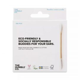 Humble White Bamboo Natural Cotton Swabs - Pack Of 100