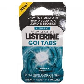 Listerine Go! Tabs 4 Chewable Tablets Clean Mint