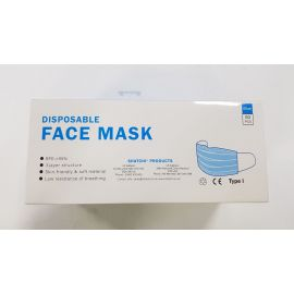 Disposable 3 Ply Ear Loop Mask - Blue - 50 Masks Per Pack