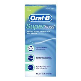 Oral-B Mint Superfloss Dental Floss - 50 Pre-Cut Strands