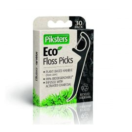 Piksters Eco Charcoal Floss Picks - Pack Of 30