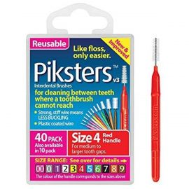 Piksters Interdental Brushes 0.65mm - Red Size 4 - Pack Of 40