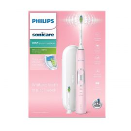 Philips Sonicare Protective Clean 6100 Electric Toothbrush (UK 2-pin Bathroom Plug) - Light Pink