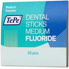 TePe Dental Wood Stick - Medium With Fluoride - 25 Sticks Per Pack