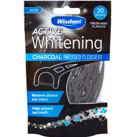 Wisdom Active Whitening Charcoal Floss Harps - 30 Flosses Per Pack