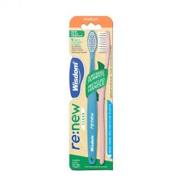 Wisdom re:new Clean 100% Recycled Plastic Toothbrush Twin Pack
